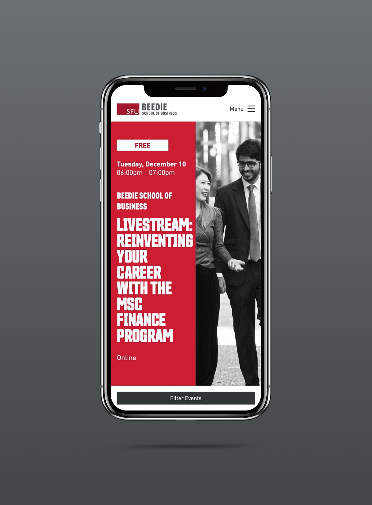 SFU Beedie mobile event registration example on iPhone X