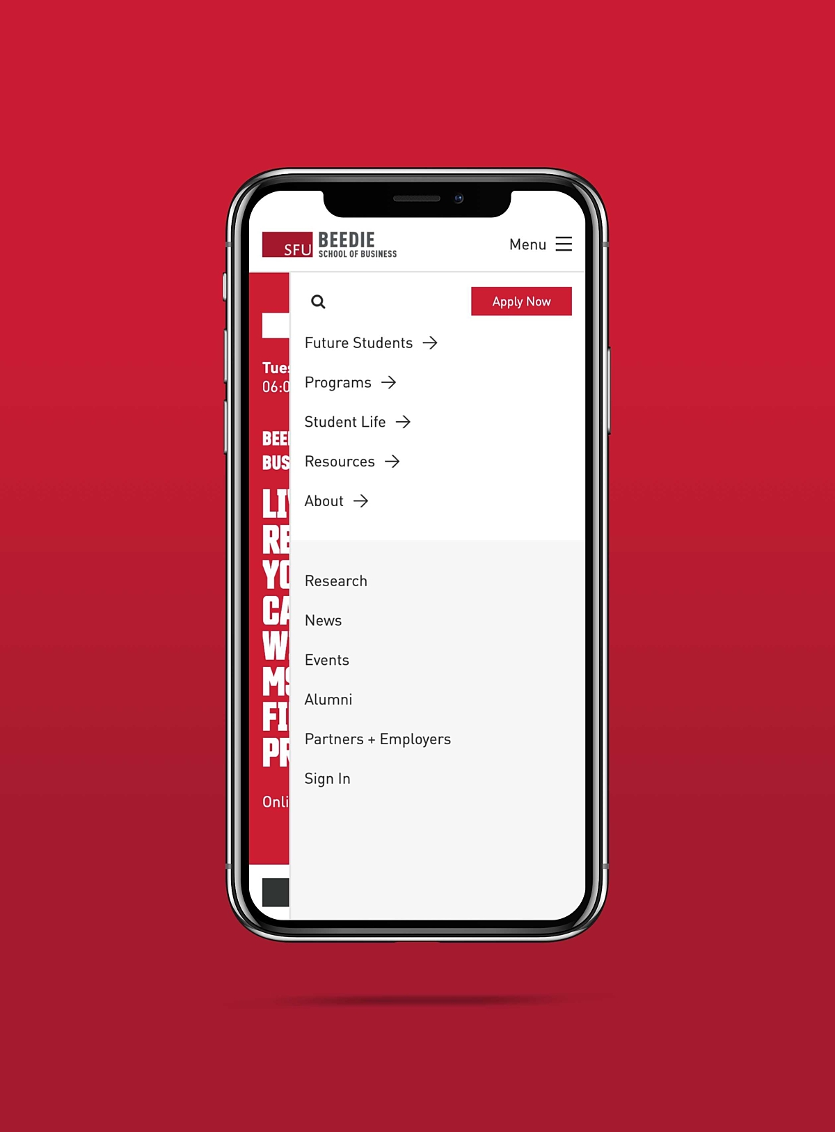 SFU Beedie mobile menu example on iPhone X