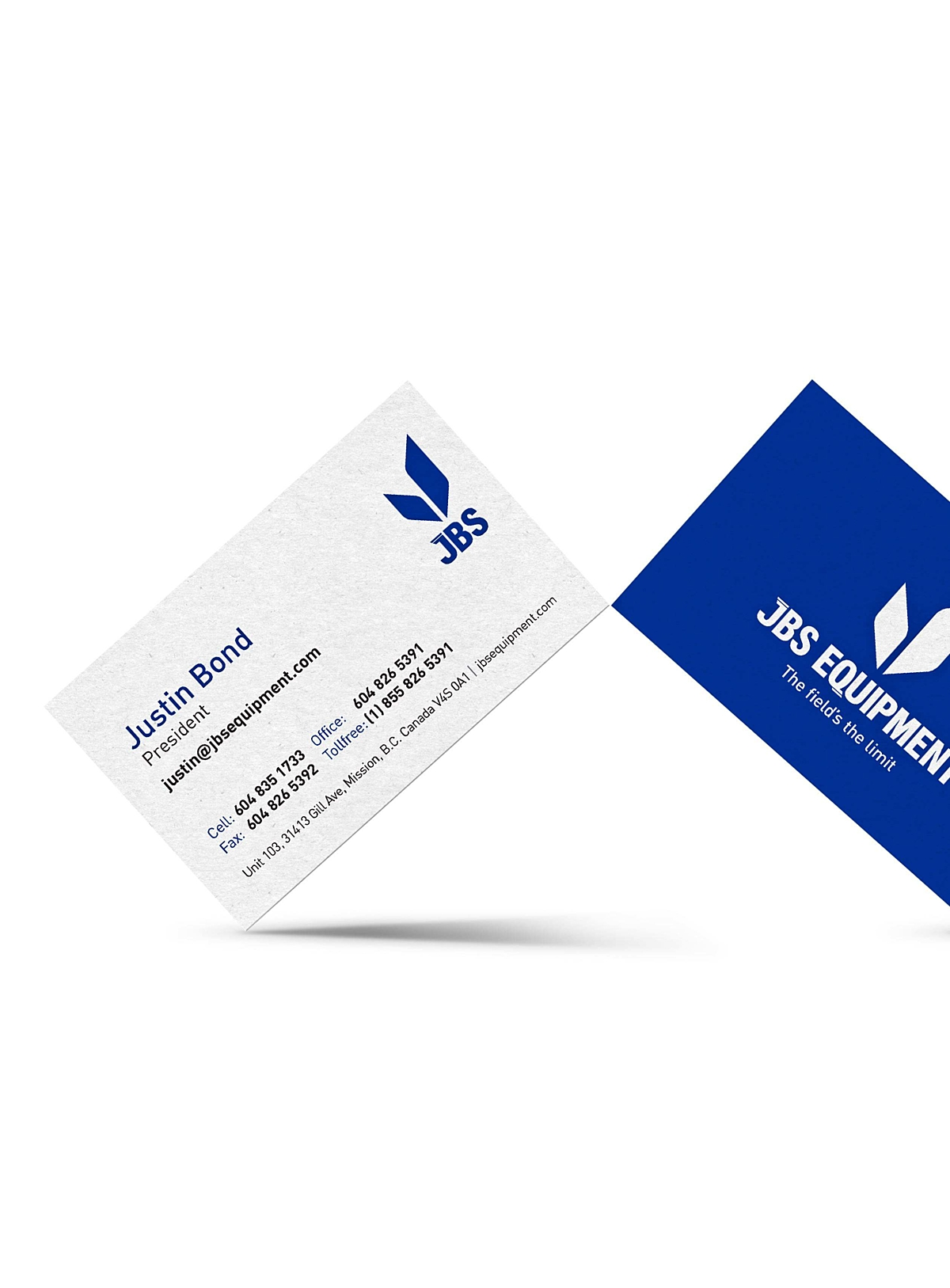 JBS Equipment business cards front and back displaying Justin Bond information