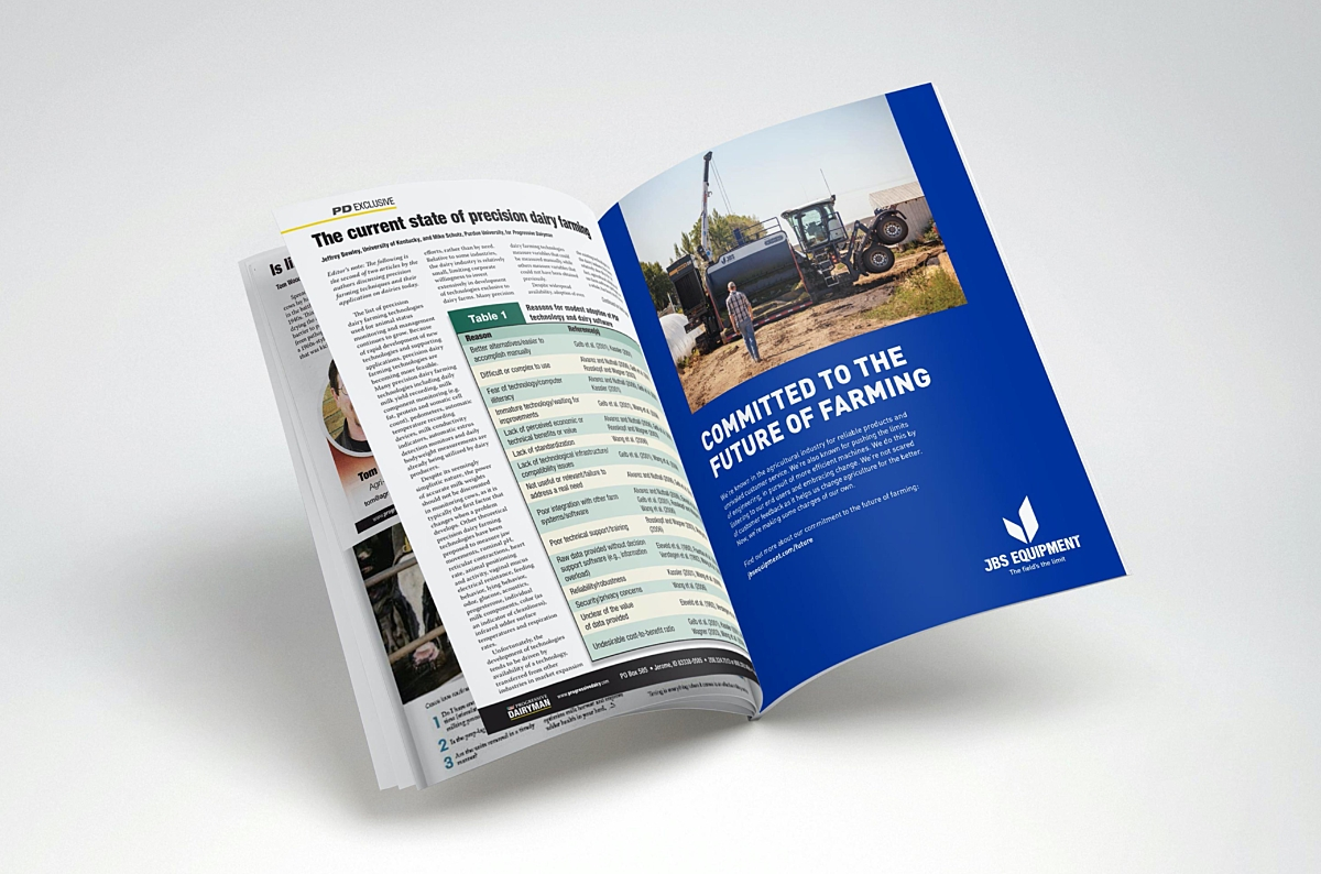 JBS Equipment brochure flipped to page near the end of the brochure