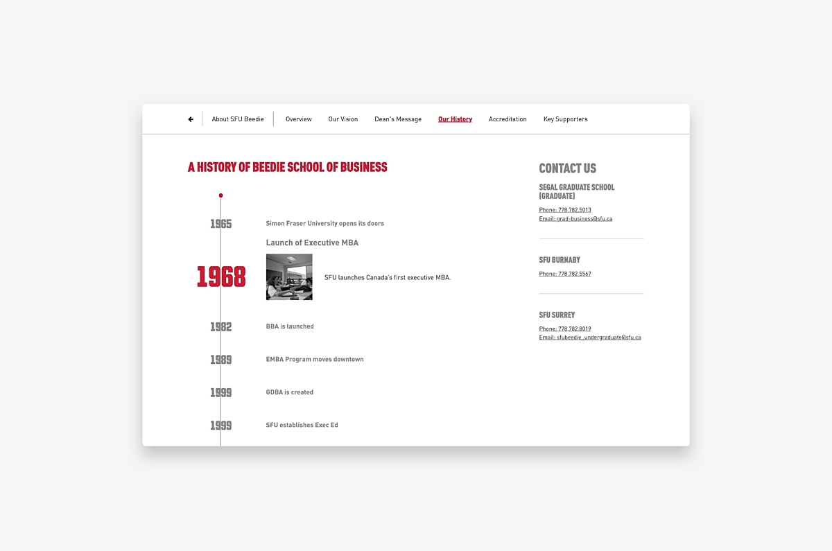 Example of SFU Beedie timeline from website redesign