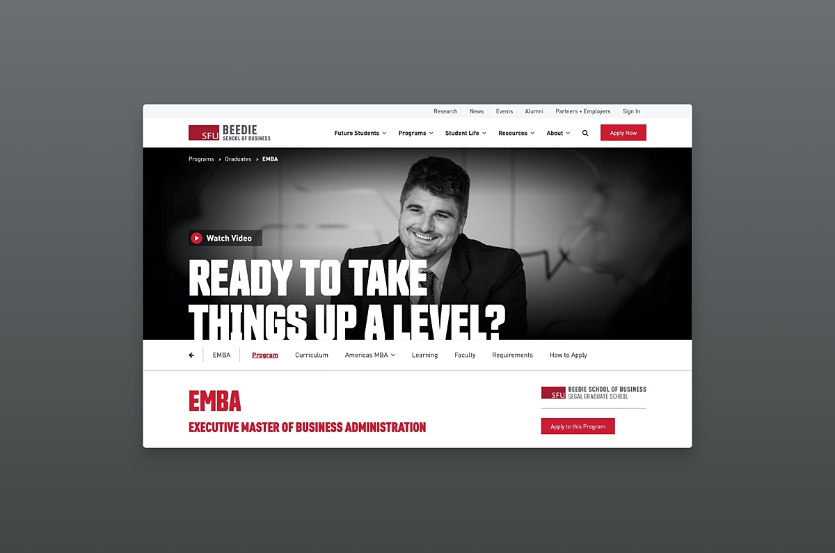 SFU Beedie new page template with call to action and smiling man in black and white