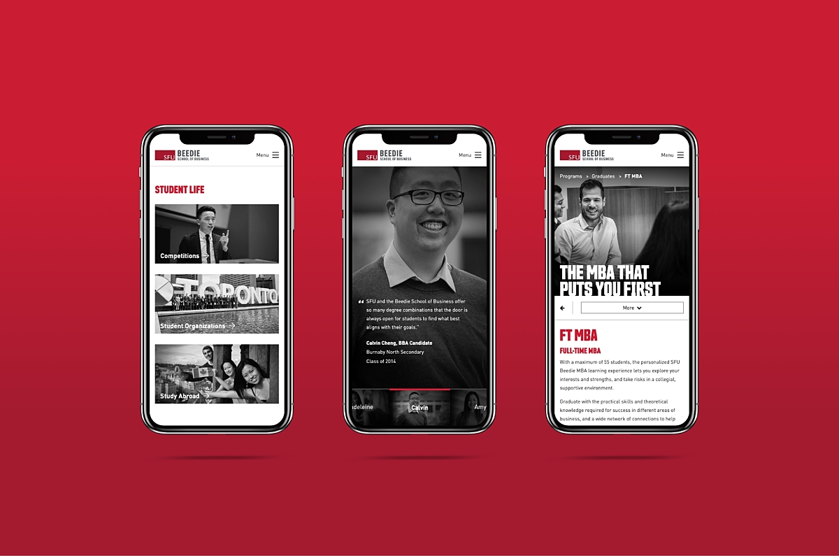 SFU Beedie redesign examples on three iphone X screens using Craft CMS