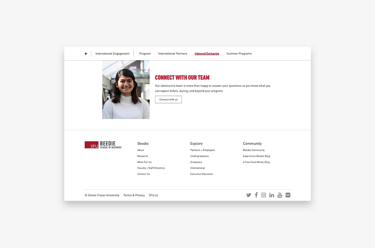 Example of call to action from website redesign for SFU Beedie School of Business