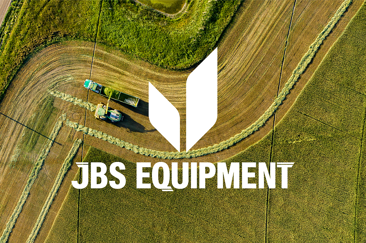 JBS Equipment logo overtop of two farming machines in the field