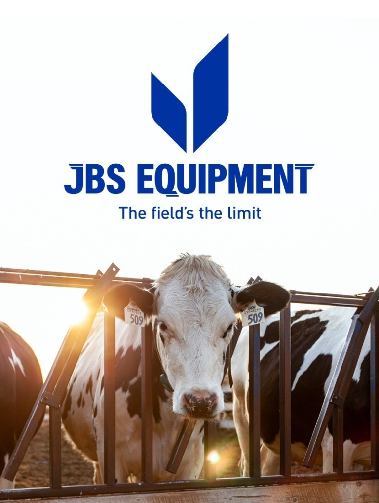 JBS Equipment logo in blue with tagline above cow looking at camera